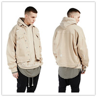 Wholesale Denim Over - fashion Kanye west khaki denim ripped jeans jacket Hot mens hip hop swag street over coat clothes clothing quality bomber military