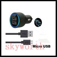 mikro-luft-ladegerät großhandel-5V 2.1A Doppel-USB-Autoladeadapter + Mikro-USB-Synchronisierungs-Datenkabel 1.2M 4ft für iphone 6 plus iPad Air Samsung