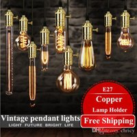 Wholesale industry energy saving - loft hanging lights vintage pendant lights copper lamp holder Edison light bulb industry pendant lamps Golden Chrome E27 W-filament bulb