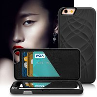 Gros-Make UP Card Mirror Case Slot Wallet Pour Iphone 6 6S 4.7 / Plus 5.5 Luxury Case 3D Dual Layer Hard Cover Housse en cuir flip