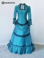 Wholesale custom renaissance dresses - 2016 Graceful Blue And Black Wedding Victorian Bustle Ball Gown Party Dresses For Women