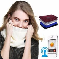 Wholesale Red Christmas Scarf - 5 Colors New Wireless Bluetooth Scarves Ring Neckerchief Scarves Knitted With Bluetooth Stereo Earphones Christmas Gifts CCA7465 20pcs