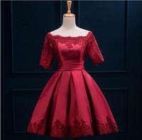 kırmızı askısız kısa tül elbise toptan satış-2015 Yeni Arrvial Gelin Evli Ziyafet Kokteyl Elbiseleri Kısa Ince Kırmızı Dantel Zarif Örgün Gelinlik Modelleri