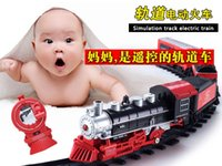 Wholesale Train Toys Longer Tracks - Long retro electric remote control toy train track puzzle assembling sound and light rail transport simulation model trains