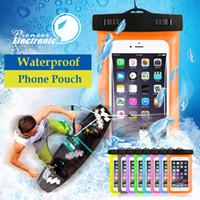 ingrosso coperture subacquee samsung-Per iphone 7 Dry bag Custodia impermeabile Custodia universale Trasparente Custodia impermeabile Custodia subacquea adatta a tutti gli smart phone inferiori a 5,8 pollici