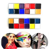 Wholesale Glow Paint Oil - 12 Colors Flash Tattoo Face Body Paint Oil Painting Art Halloween Makeup Temporary Tatoos Glowing Painting Make Up Paint Pigments 2802038