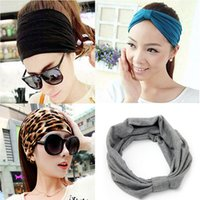 Wholesale Variety Bands - Women Sports Variety of Wear Method Cotton Elastic Yoga Hair Turban Fashion Wide Headwear Headbands Wholesale 2501031