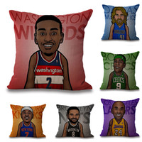 Wholesale Basketball Sofa - 45*45cm Newest Personality Basketball Star Pillow Case Cotton Linen Square Cushion Sofa Car Livingroom Bedroom Pillow Covers 7 Style WX-P22
