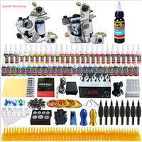 Wholesale Colored Tattoos - Solong Tattoo® BeginnerTattoo Kit 2 Coil Guns 54 Colored Pigment Inks Power Supply Foot Pedal Needles Grips Tips TK252 Free Shipping