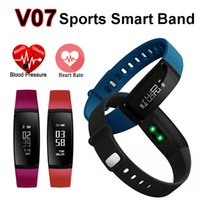 bluetooth akıllı bant toptan satış-Akıllı Bant Kalp Hızı Monitörü Kan Basıncı Nabız V07 Bilezik İzle SmartBand Kablosuz Spor Izci Pedometre Bluetooth Telefon için