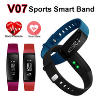 Wholesale Pedometer Rate - Smart Band Heart Rate Monitor Blood Pressure Pulse Rates V07 Bracelet Watch SmartBand Wireless Fitness Tracker Pedometer Bluetooth for Phone