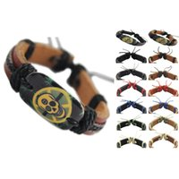 Wholesale Leather Wristband Skull - skull genuine leather bracelet adjustable black brown wholesale lots surfer charm chain unisex handmade wristband men women bangle (DJ058)