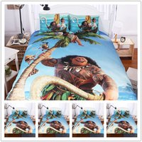 Wholesale Cheap Bedding For Kids - Cartoon Bed Duvet Quilt Cover Set Cotton Moana For Kids Queen Duvet Cover Bedding Children Blue In bedding Sets Cheap NEW