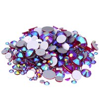 Wholesale Rhinestone Strass - Siam AB Non Hotfix Crystal Rhinestones SS3-SS10 And Mixed Sizes Glue On Strass Diamond DIY Jewelry Making Nails Art Accessories