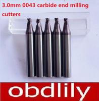 Wholesale copy machine wholesalers - 2pcs lot 3 Tooth Car Tey Dupicating Cutters 3.0mm 0043 Carbide End Milling Cutters For WENXING Key Copy Machines 3.0mmx6mmx40mm
