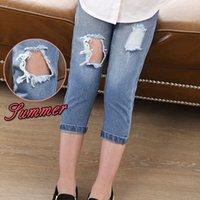 Wholesale Wearing Jeans Summer - Caterpillar Children Summer 2016 New girls Ripped Jeans Short Pants Worn Jeans Pants Size 120-130-140-150-160 Retail