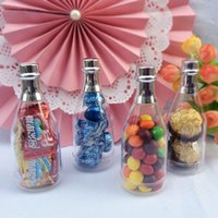 Wholesale Shower Baby Bottle - Mini Champagne Bottle Plastic Clear Candy Box Sweet Sugar Package Wedding Baby Shower DIY Gift Favor Box ZA4276