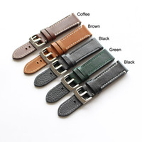 Wholesale Breitling Buckle - Black Green Brown Coffee Sport Genuine Leather Straps Watch Bands For Breitling Watch With Stainless Steel Buckle 18mm 19mm 20mm 21mm 22mm