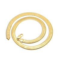 Wholesale Crystal Clay For Sale - 8&10 MM gold snake chain necklace Men's Flattened Smooth snake chains 30inch For women Hip Hop Jewelry Hot sale