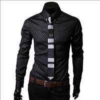 Wholesale New Style Professional Dresses - 2016 New style Men Slim fit Unique neckline stylish shirts professionals long-sleeved shirts Mens dress shirts size: M-5XL CS13