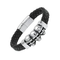 Wholesale Gothic Mens Stainless Steel Bracelets - Stainless Steel Sheepskin Skull Men's Bracelet Punk Rock Mens Black Durable Leather Bracelets Gothic Skull Cuff Bangle Skeleton Charm