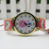 Wholesale Dreamcatcher Dress - 2016 New Brand Handmade Braided Women Watch Fashion Dreamcatcher Vintage Ribbon Wristwatch Ladies Dress Quarzt Watches