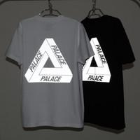 Wholesale El Lighting T Shirts - PALACE Reflective Tees Men Boy Skateboard T-Shirts Streetwear White Black 3M Light-reflecting Short Sleeve T shirt Tops LLWF0514