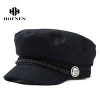 Wholesale Winter Felt Hats For Women - 2016 Winter Wool Felt Military Beret Caps and Hats Black Berets Hats for Women and Men Warm Painter Flat Cap