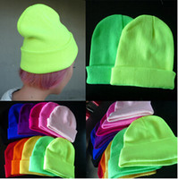 Wholesale Hiphop Skull Cap - Hot sale!2016 Bboys Fluorescence beanies Autumn Winter Hiphop Knitting Hats Men and Women Sports Warm Caps Wool Beanie MZ-16 19 colors