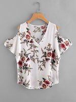 Compra Camicetta Donna V Collo-2017 Camicie in chiffon profonde V-collo estate camicie a maniche corte camicia floreale short-sleeved camicie in stile bohemien beach casual