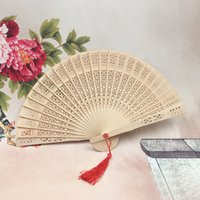 Wholesale Cheap Folding Fans - wholesale bridal Fans Folding Hand held Fans wedding decorations accessories Wooden fans nature color cheap Small Gifts for Guests Ladies