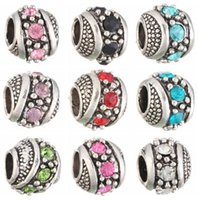 Vente en gros de couleurs mélangées Rhinestone Cristal Tibétain Argent fleur Rondes Carve Anger European Big Hole Spacer Beads For Charms Bracelet