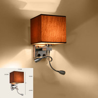 UK led arm sconce - Modern wall sconce with switch wall bed lamps 1 or 2 pcs 1w led reading light hose rocker arm Reading lighting fabric lampshade