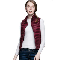 Wholesale Thin Down Jacket Women Green - NEWEST! 2016-17 Winter Women 90% White Duck Down Vest Women's Ultra Light Duck Down Vest Autumn Winter sleeveless Jacket Coat Parka
