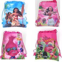Wholesale Children Gifts Wholesale Shop - New Cartoon Cosplay Moana Trolls Backpacks Non Woven Sling Bag Shopping Bag Children Kids School Bags Gifts HH-D06