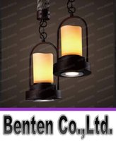 Wholesale Candle Pendant Style Lighting - Vintage American country style Industrial Candle Shape Marble lampshade Rope pendant light hanging light ceiling lamp E27 Loft Bar LLFA11