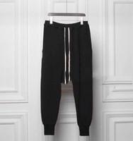 düşük kasık pantolon erkekler toptan satış-Toptan-pantalons homme owens ter hip hop tapered düşük bırak crotch sweatpants siyah joggers harlem tulum harem pantolon erkekler