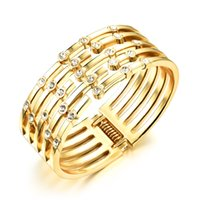 Wholesale Hinge Brass - Classic Wide Gold-Tone Cage Bracelet Cuff Hinged Bangle with Rhinestone Accents