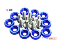 Wholesale Engine Dress - 10PCS Blue M6x20MM Aluminum Fender Bumper Washers and Bolts dress up kit Engine Screw Kit Set for Honda Civic Integra RSX EK EG DC