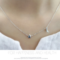 Wholesale Sterling Silver Charms Wholesale Usa - Necklace S925 sterling silver pendants star and moon fashion high quality fashion jewellery real rhodium plated free shipping USA style