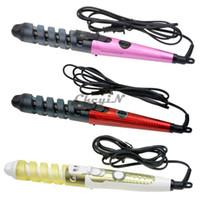 elektrische zauberstäbe groihandel-2 Mt Kabel Elektrische Magic Hair Styling Werkzeuge Professionelle Lockenwickler Roller Spirale Lockenstab Curl Styler 110-240 V