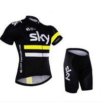 ingrosso pullover di bicicletta del bicchierino del cielo-Maglia da ciclista del Tour De France Sky Team 2018 Maglia da ciclista Quick Dry Compressed Wear Maglia da ciclismo a manica corta + pantalone