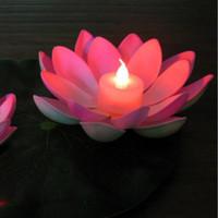 ingrosso candela principale bianca galleggiante-Colore bianco Artificiale LED Floating Lotus Flower Candle Lamp con luci colorate modificate per decorazioni per feste di nozze