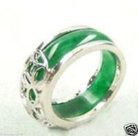 ingrosso l'acquisto di perle naturali-2016 hot acquistare La perla d'argento giada braccialetto anello orecchino necklaceBeautiful Tibet argento naturale verde giada anello taglia 8 # Gioielli