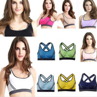 Wholesale Khaki Vest Wholesale - Popular Women Padded Top Athletic Vest Gym Fitness Sports Bra Stretch Cotton Seamless Sexy sporty vest bras Free Shipping