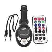 usb kartı sürücüsü toptan satış-PIPA V80T Moda Siyah Araba MP3 Çalar FM Verici SD USB Kalem Sürücü SD MMC Yuvası Kartı Için iPod Için Yeni