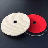 "Wholesale- 7"" 180mm Japanese-Style Short Hair Auto Detailing Buffing Cutting Pad Natural Sheepskin Wool Polishing Pad"