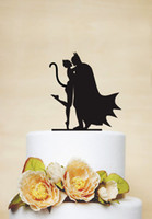 Wholesale Batman Cake Toppers - wholesale Acrylic Batman And Catwoman Mask custom name birthday cake toppers wedding bridal baby shower Bachelor party theme decorations