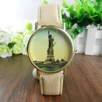 Wholesale Statue Battery - New arrival Fashion Vintage Statue of Liberty Watch Leather Watches Ladies Women Geneva Wristwatches Party Birthday Gift