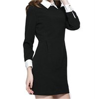 6d1f302ff9eedb schwarzes kleid weißer kragen plus größe großhandel-X201711 Winter mode  frauen büro schwarz kleid mit